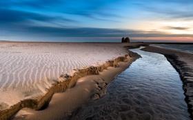 Картинка песок, Италия, пляж, речка, рассвет