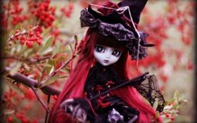 Картинка готика, игрушка, шляпа, кукла, платье, длинные волосы, готесса