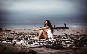 Обои пляж, ножки, берег, фильтр, царапины, Sunny