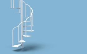 Обои голубой фон, белый, лестница, ступеньки, интерьер, минимализм