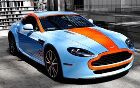 Картинка оранжевый, голубой, тюнинг, тачка, астон мартин, Aston martin, авто обои