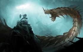 Картинка скала, оружие, фантастика, доспехи, существо, воин, арт