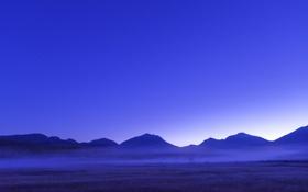 Обои поле, небо, горы, туман, вечер