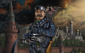 Обои кремль, пулемет, Сталин