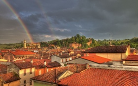 Обои здания, радуга, крыши