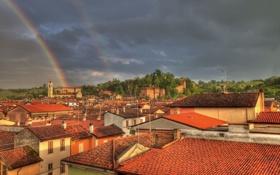 Картинка здания, радуга, крыши