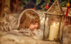 Обои новый год, ребенок, рождество, свеча, девочка