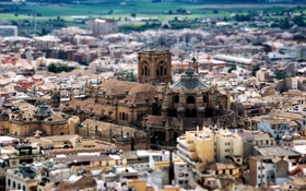 Обои дома, крыши, Tilt-Shift, Church, Buildings, Granada Cathedral