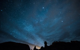 Обои Arches National Park, звезды, ночь, небо