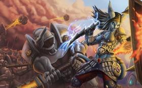 Обои draenei, shaman, битва, World of Warcraft, доспехи, warcraft, воин