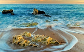 Картинка песок, камни, волны, фото, море