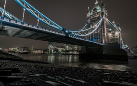 Картинка ночь, мост, огни, река, Лондон