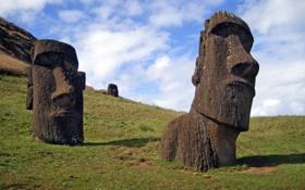 Картинка остров, фигуры, пасхи, каменные