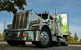 Картинка грузовик, хром, тягач, peterbilt, никель