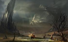 Обои пейзаж, горы, войны, арт, всадники, поход