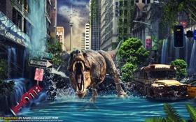 Обои город, фантастика, динозавр, цунами, разрушение, By Namo, The Last Survived
