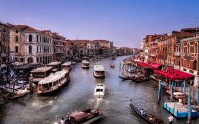 Картинка движение, корабль, дома, лодки, причал, Италия, Венеция