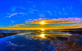 Обои море, небо, солнце, облака, закат, горизонт