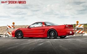 Обои red, красная, задняя часть, акура, Acura, NSX, sf system forged