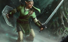 Обои деревья, пауки, паутина, меч, арт, парень, The Legend of Zelda