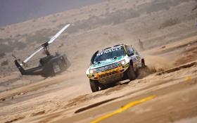 Обои Песок, Авто, Спорт, Пустыня, Машина, Вертолет, Гонка