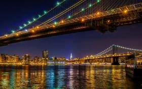 Обои небо, ночь, мост, огни, река, дома, нью-йорк