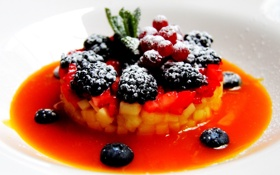 Обои фрукты, манго, сахарная пудра, тар-тар