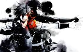 Картинка двое, красные глаза, мужчины, монохромный, Kazuya, Chitose, Toki no Kizuna