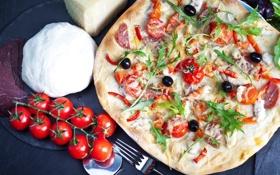 Картинка pepper, колбаса, зелень, pizza, сыр, пицца, cheese