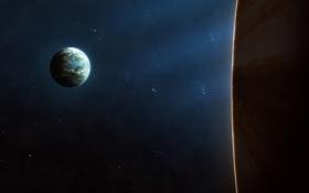 Обои космос, звезды, планета, спутник, атмосфера