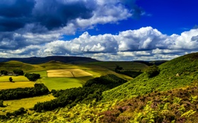 Картинка зелень, трава, облака, деревья, поля, Великобритания, Ladybower