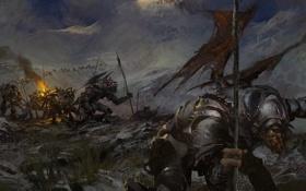 Картинка горы, армия, доспехи, монстры, солдаты, guild wars 2