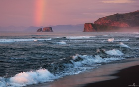 Обои побережье, скалы, прибой, волны, тучи, радуга, море
