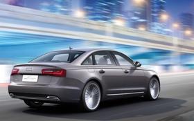 Обои Concept, Audi, Ночь, Машина, Серый, e-tron, В Движении