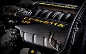 Обои двигатель, логотип, Corvette, Chevrolet, тачки, шевроле, движок