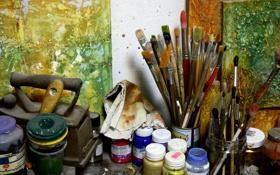 Обои художник, мастерская, кисть