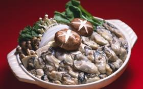 Картинка noodles, грибы, морепродукты, зелень, моллюски, mushrooms, Seafood