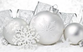 Обои Рождество, белые, елочные, украшения, праздники, снег, лента