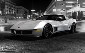 Картинка сhevrolet corvet, auto, чёрно белое фото ночной город