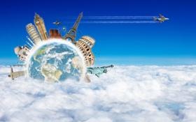 Картинка облака, креатив, эйфелева башня, здания, планета, самолёт, колизей
