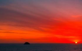 Обои море, небо, солнце, облака, закат, скала, остров