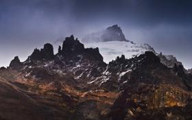 Картинка облака, снег, горы, Природа
