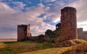 Обои трава, города, замки, замок, сооружения, фото, стена