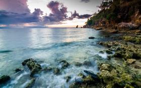 Картинка море, закат, тучи, камни, побережье, Филиппины, Philippines