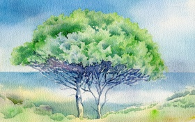Обои акварель, пейзаж, картина, дерево