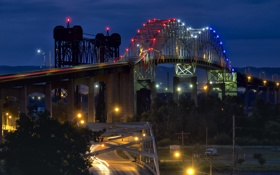 Картинка ночь, город, огни, Мичиган, Marie International Bridge