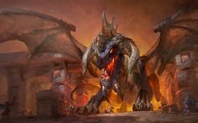 Обои город, люди, дракон, крылья, арт, WoW, World of Warcraft