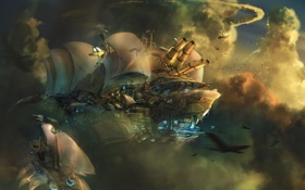 Обои облака, оружие, корабли, арт, паруса, в небе