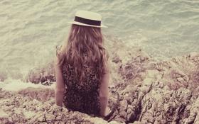 Обои девушка, волосы, шляпа, локоны