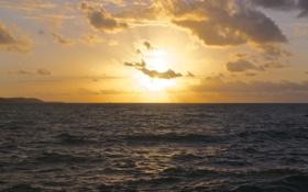 Обои море, солнце, облака, закат, горизонт